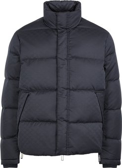 Navy logo-jacquard quilted shell jacket