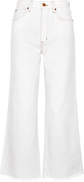 Grace white cropped wide-leg jeans