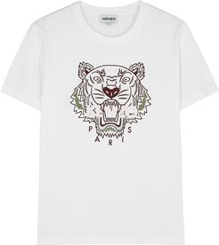 White tiger-embroidered cotton T-shirt