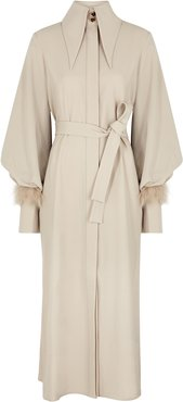 Namika taupe feather-trimmed coat
