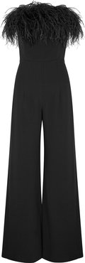 Taree black feather-trimmed jumpsuit