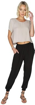 Smocked Cuff Pants in Rayon Crepe (Black) Women's Casual Pants