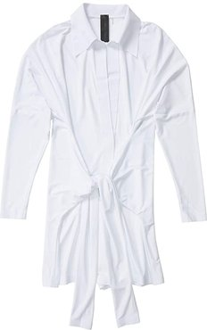 Tie Front NK Shirt Jumpshorts (White) Women's Jumpsuit & Rompers One Piece