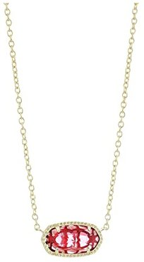 Elisa Birthstone Necklace (January/Gold/Berry Clear Glass) Necklace