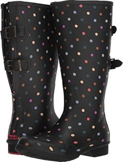 Versa Dot Rain Boot Wide Calf (Black) Women's Rain Boots