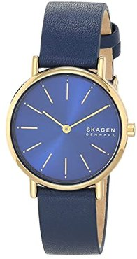 Signatur Two-Hand Women's Watch (SKW2867 Gold Blue Leather) Watches