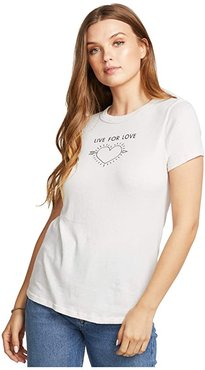 Live For Love Gauzy Cotton Tee (Salt) Women's Clothing