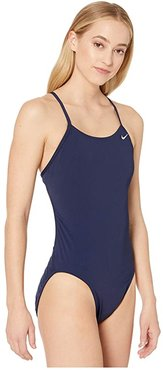 Solid Poly Cut-Out Tank Swimsuit (Midnight Navy) Women's Swimsuits One Piece