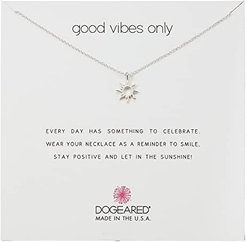 Good Vibes Only, Radient Sun Pendent Necklace (Silver) Necklace