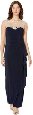 Long Sleeveless Side Ruched Dress with Embroidered Sweetheart Illusion Neckline (Navy/Nude) Women's Dress