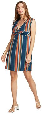 Cool Jersey Twist Front Sleeveless Babydoll Dress (Multi Stripe) Women's Dress