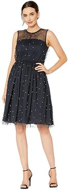 Pearl Mesh Novelty Fit and Flare (Navy Blue) Women's Dress