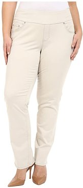 Plus Size Peri Pull-On Straight Leg Pants in Bay Twill (Stone) Women's Clothing