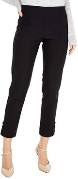 Control Stretch Pull-On Crop Pants with Covered Snap Ankle Detail (Black) Women's Casual Pants