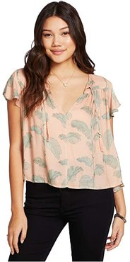 Heirloom Gauze Flutter Sleeve Blouse (Pink Palms) Women's Blouse