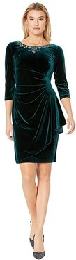 Short Stretch Velvet Dress with Beaded Neckline (Forest) Women's Dress