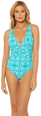 Make Waves Over the Shoulder Mio One-Piece (Laguna Teal) Women's Swimsuits One Piece