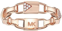 Precious Metal-Plated Sterling Silver Pave Mercer Link Ring (Rose Gold) Ring
