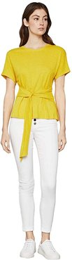 Wrap Front Knit Top (Sulphur) Women's Clothing