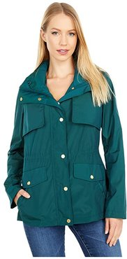 Travel Packable Zip Front Jacket with Front Placket and Snaps (Pine) Women's Coat