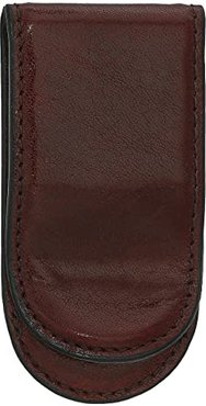 Old Leather Collection - Leather Covered Money Clip (Dark Brown) Wallet Handbags