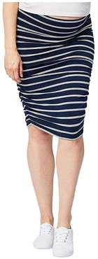Maternity Ruched Fitted Skirt (Stripe) Women's Clothing