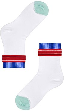 Hysteria By Happy Socks Conchita Ankle Sock (White/Traditional) Women's Crew Cut Socks Shoes