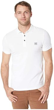 Short Sleeve Polo with Logo Patch (White) Men's Short Sleeve Pullover