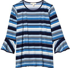 Plus Size Court Stripe Flutter Sleeve Top (Chambray) Women's Clothing