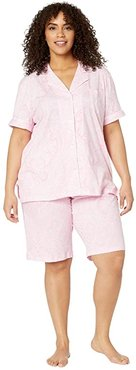 Plus Size Short Sleeve Notch Collar Bermuda Shorts PJ Set (Pink Paisley) Women's Pajama Sets