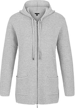 Hooded Long Sleeve Zip Front Sweater Cardigan (Grey Mix) Women's Sweater