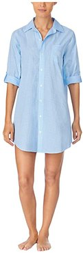 Classic Wovens 3/4 Roll Sleeve His Sleepshirt (Blue Check) Women's Pajama