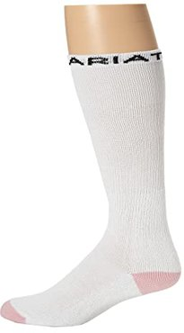 Ariat Over The Calf Sport Sock 3-Pack (White/Pink) Women's Crew Cut Socks Shoes