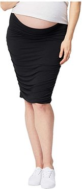 Maternity Ruched Fitted Skirt (Black) Women's Clothing