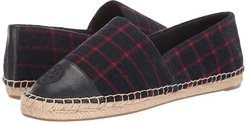 Color Block Flat Espadrille (Checked Wool/Tory Navy) Women's Shoes