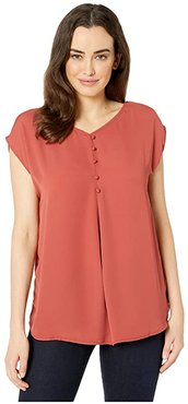 Harper Short Sleeve Top with Back Button Detail (Salmon) Women's Clothing