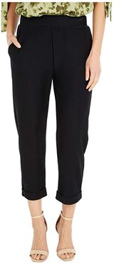 Solid Rolled Cuff Pants (Black) Women's Casual Pants