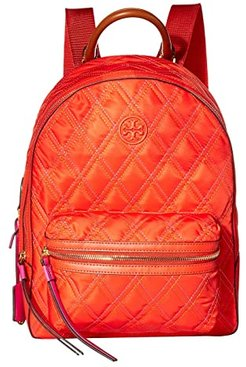 Perry Nylon Mixed Stitch Zip Backpack (Bright Samba) Backpack Bags