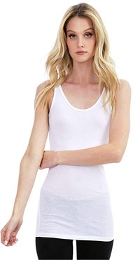 Basic Tank Top in Lightweight Cotton Jersey (White) Women's Clothing