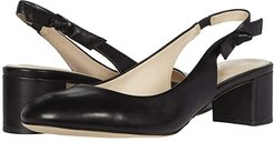 Lainey Pump (50 mm) (Black Leather/Black Semi Shine Stack) Women's Shoes