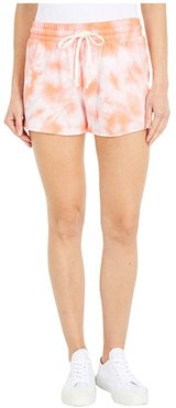 Cozy Lightweight French Terry Shorts (Coral Tie-Dye) Women's Shorts