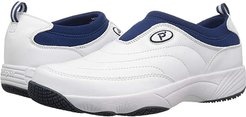 Wash Wear Slip-on (White/Navy Leather) Men's  Shoes