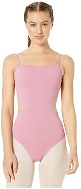Embroidered Mesh Camisole Leotard (Dusty Rose) Women's Jumpsuit & Rompers One Piece