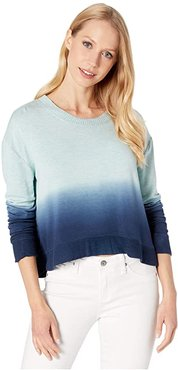 Plunge Pullover (Light Teal Heather Dip-Dye) Women's Clothing