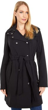 Hooded Double Breasted Trench Coat with Belt (Black) Women's Coat