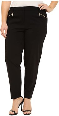 Plus Size Skinny Pants with Zippers (Black) Women's Casual Pants
