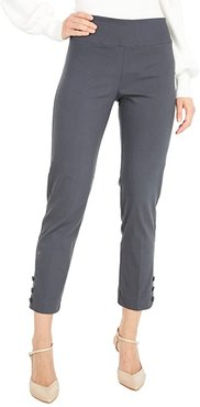 Control Stretch Pull-On Crop Pants with Covered Snap Ankle Detail (Gunmetal) Women's Casual Pants