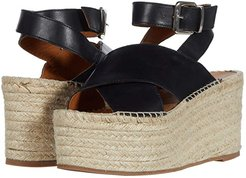 Vegas Platform Espadrille Wedge (Black) Women's Shoes