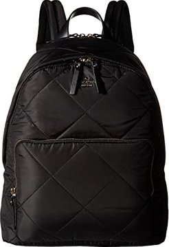 15 in. Quilted Nylon Tech Backpack (Black) Backpack Bags