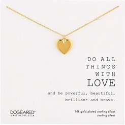 Do All Things with Love, Large Heart Necklace (Gold Plated) Necklace